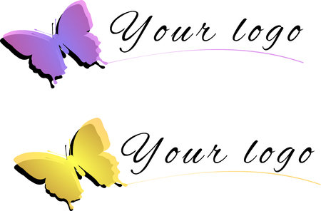 Illustration of yellow and violet butterfly as logo isolated on a white background