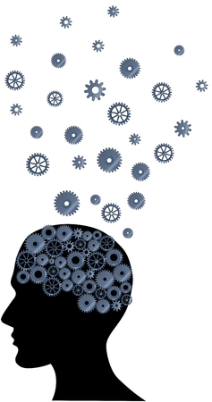 brain storming: Illustration of a brain with many ideas on a white background