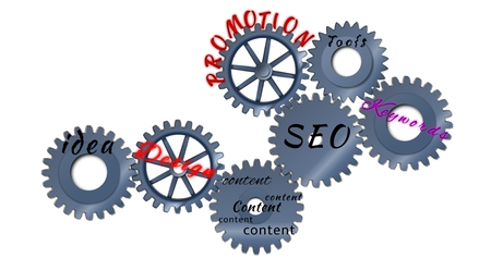 Abstract toothed wheels as creation seo mechanism isolated on a white background