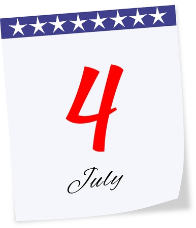 Calendar page with date Independence Day on July 4th