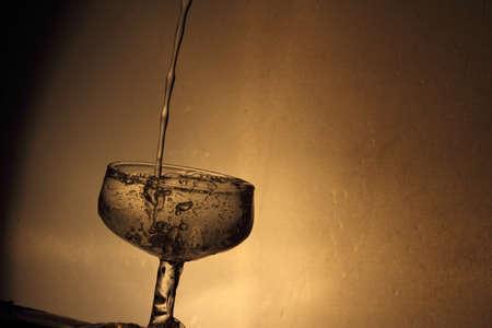 glass half full: Glass half full of water