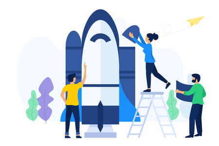 Vector illustration of people build a startup. Creative teamwork try to launch a spaceship rocket. Symbol of teamwork, cooperation, collaboration. Isolated Vector