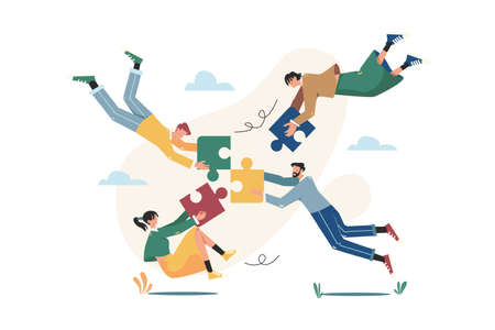 Floating people connecting puzzle elements Vektorové ilustrace