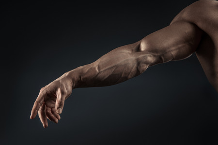 Handsome muscular bodybuilder demonstrates his fist and vein blood vessels. Studio shot on black background.