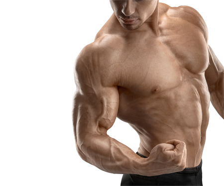 deltoid: Closeup of a power fitness man39s hand. Strong and handsome young man with muscles and biceps. Isolated on white background