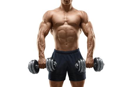 ハンサムなパワー運動男性ボディービルダーがダンベルでのエクササイズします。フィットネス筋肉のついた体は、白い背景で隔離。
