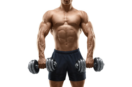 Handsome power athletic man bodybuilder doing exercises with dumbbell. Fitness muscular body isolated on white background.