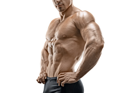 Muscular and fit young bodybuilder fitness male model isolated on white background Фото со стока