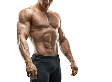 白い背景に分離された筋肉とフィットの若いボディビルダー フィットネス男性モデル