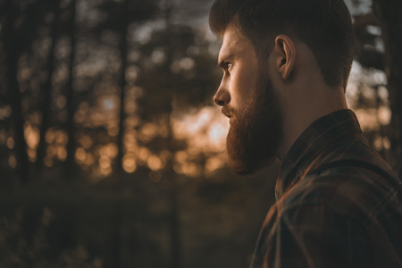 Brutal bearded man confidently looking forward. Standing alone in forest outdoor with sunset nature on background Banque d'images