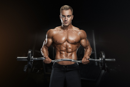bicep: Portrait of handsome bodybuilder performing the biceps curl with EZ curl bar at gym. Perfect physique athletic young man with six pack, perfect abs, shoulders, biceps, lats and chest.
