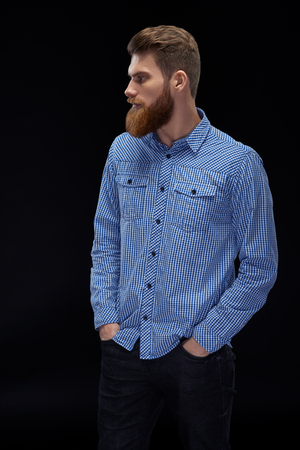 Fashion model with stylish hair. Man with long beard and mustache on serious face. Hipster in shirt. Barber fashion and beauty. Foto de archivo - 124441013