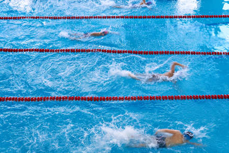 Unidentified young swimmers. Young swimmers competition. Children swim in the pool. Top view shot. Concept of a healthy lifestyle. Swimmers in motion slightly blurred