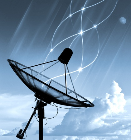 satellite tv: Satellite dish transfer data - cyan tone