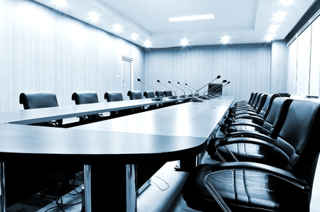 asiento: Presidentes de Sala de reuniones - tono azul Foto de archivo