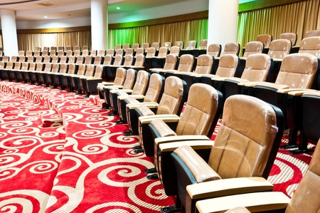 convention hall: empty seats in auditorium interiors Stock Photo