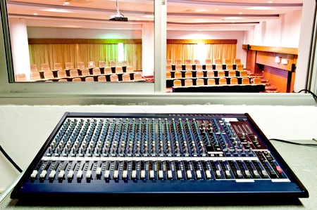 concert hall: mixer console in conference room Stock Photo
