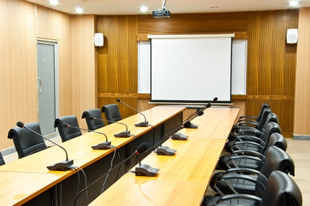 board room: Business meeting room or board room interior
