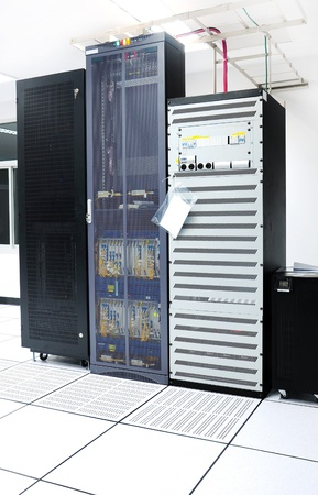 Black servers and hardwares in an internet data center photo