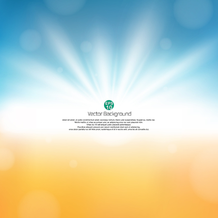 Fine sunburst in nature beach abstract background with copy space, illustration vector eps10 Иллюстрация