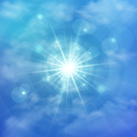 Abstract of clear blue sky with sun burst in the center background. Layers can be adjusted. Illustration vector