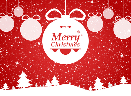 Merry christmas of red background in forest and snows gifts. illustration vector eps10 Banco de Imagens - 127710082