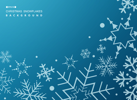 Pattern of white geometric snowflakes on gradient blue background, vector eps10 Banco de Imagens - 127710083