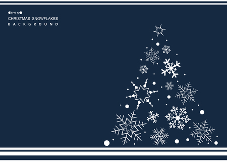 Abstract of Christmas simple blue color background with white snowflakes tree. illustration vector eps10 Ilustração