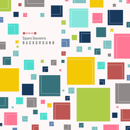 Abstract of simple colorful square geometric pattern background, vector eps10 Banco de Imagens - 127630801