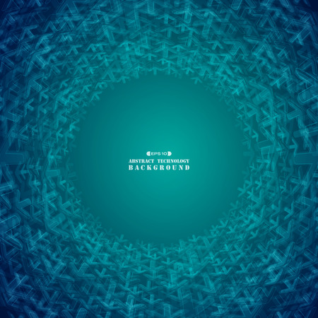 Abstract futuristic gradient blue arrows shape technology circle background, vector eps10 Banco de Imagens - 127630803