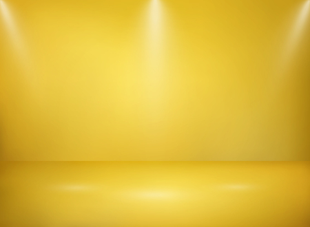 Abstract of wide golden studio metal texture background with lights presentation, vector eps10
