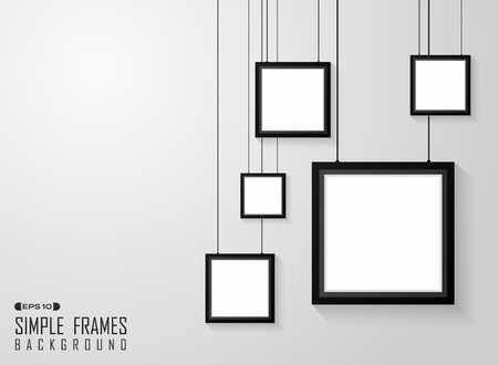 Abstract of simple square black frames pattern on gradient gray wall, vector eps10