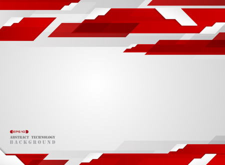 Abstract of futuristic gradient red stripe line pattern with white edge shadow background. vector eps10 Banco de Imagens - 127380045