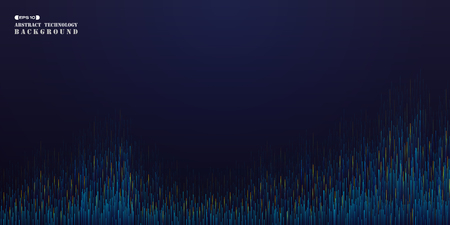 Abstract of panorama futuristic gradient blue orange stipe line pattern background, vector eps10