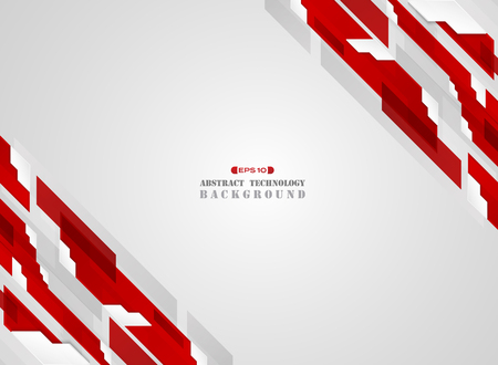 Abstract of stripe futuristic gradient red line in edge pattern with white decoration shadow background. vector eps10