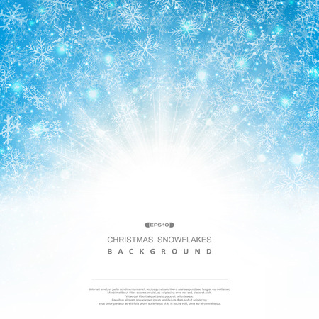 Abstract background of blue sky Christmas snowflakes pattern fantasy with classic sunburst. Illustration vector eps10 Banco de Imagens - 127268200