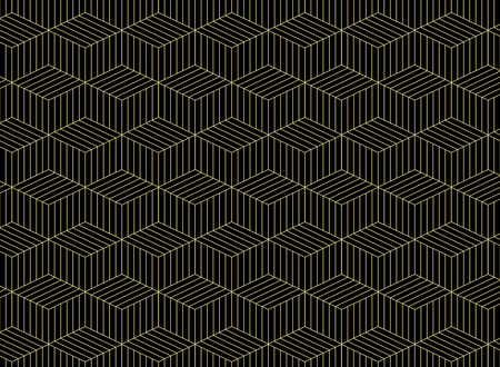 Abstract of gold grid line pattern geometric on black background, vector eps10 Banco de Imagens - 127268203