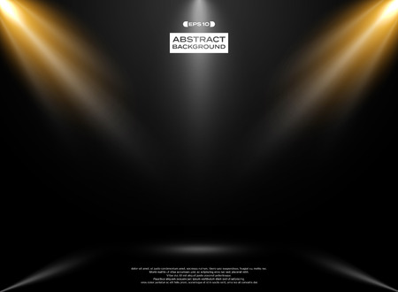 Abstract of lights studio room presenation on gradient black background, vector eps10