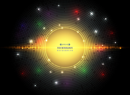 Abstract of dark circle square pattern technology in futuristic colorful technology with mix spots of lights color background. vector eps10 Illustration