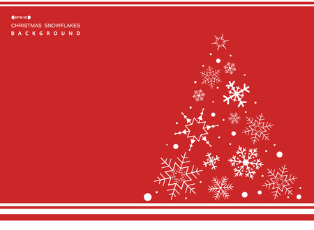 Abstract of Christmas simple red color background with white snowflakes tree. illustration vector eps10