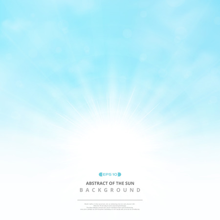 Abstract of the sun with clouds on soft blue sky background, vector eps10