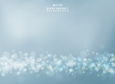 Abstract of merry gold - silver bokeh glitters on soft sky background. vector eps10 Banco de Imagens - 127102853
