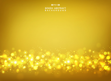 Abstract of golden glitters bokeh on gold gradient background, vector eps10 Banco de Imagens - 127102857