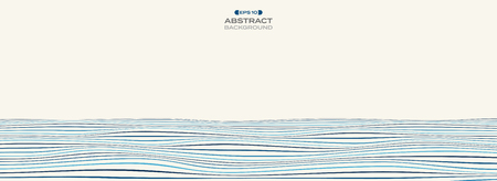 Extra wide of color level of blue stripe line wavy pattern background, illustration vector eps10
