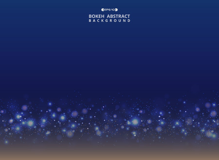 Abstract of art gradient blue with sparkle glitters bokeh background, vector eps10 Ilustração