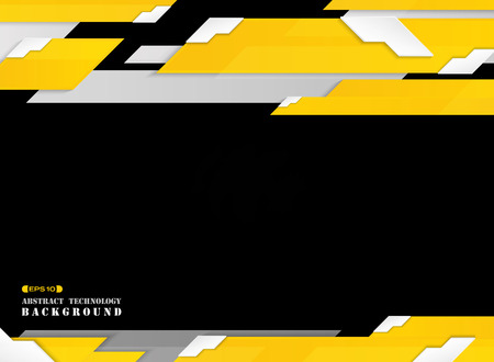 Abstract of futuristic gradient yellow stripe line pattern with white edge shadow background. vector eps10 Ilustração