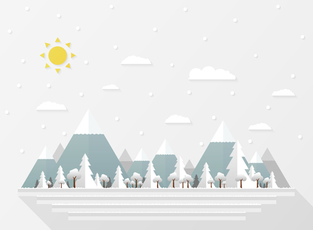 Abstract of Christmas white snow falls, presenting paper cut in wide forest background. illustration vector eps10