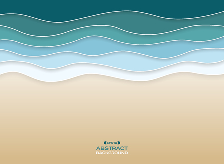 Abstract of coast sea wavy blue water color background. vector eps10