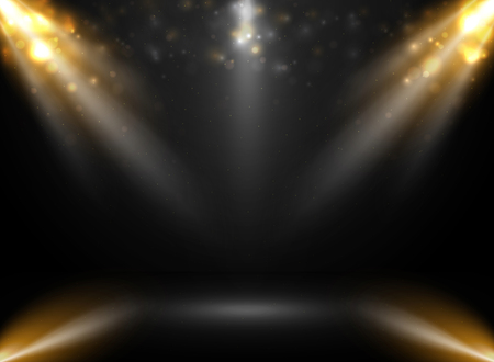 Abstract of mockup stage show in gradient black background with spotlights bokeh. vector eps10 Illustration