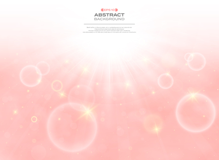 Abstract sunny day with clouds background on pink living coral color sky, vector eps10